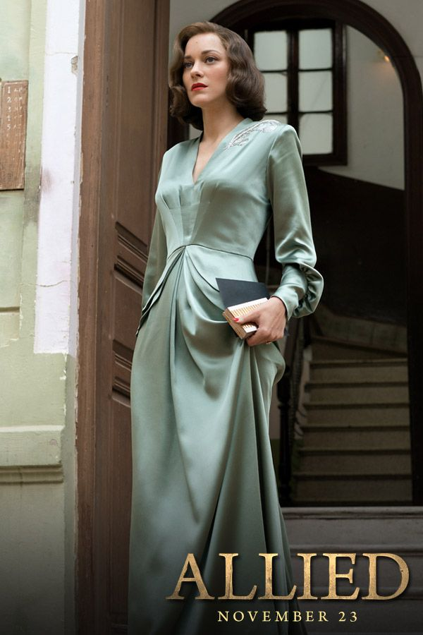 Witness Marion Cotillard's captivating performance in Allied. In theatres November 23rd. ALLIED is the story of intelligence officer Max Vatan (Pitt), who in 1942 North Africa encounters French Resistance fighter Marianne Beausejour (Cotillard) on a deadly mission behind enemy lines. Reunited in London, their relationship is threatened by the extreme pressures of the war. Costume designs by Joanna Johnston. For more fashion from Allied Movie, follow us NOW!
