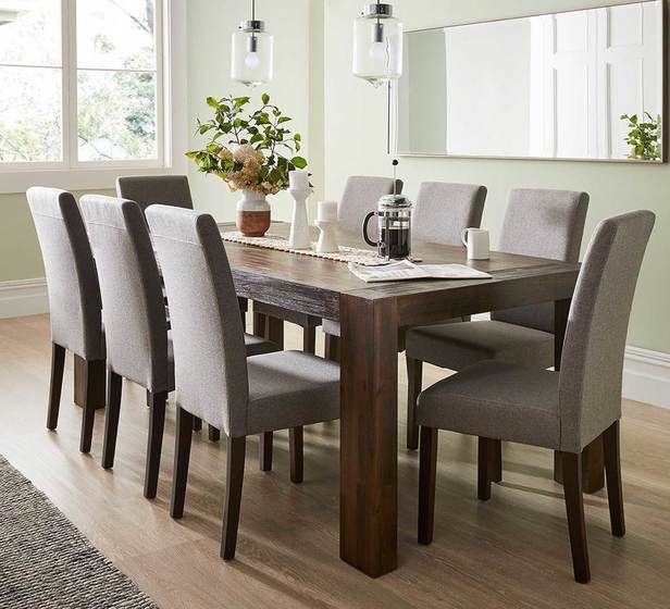 Kingston 9 Piece Dining Set With Madison Chairs 8 Seater Dining Table Brown Dining Table Formal Dining Room Sets