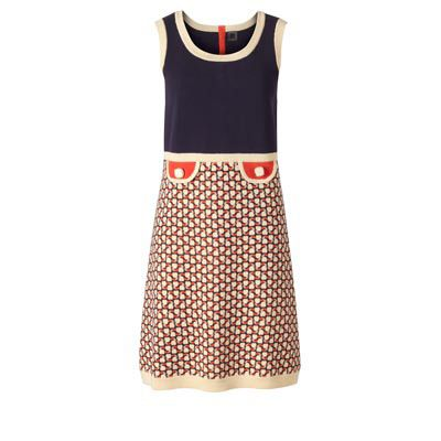 Orla Kiely - 1/2 Milano Cotton Dress £245.00   Cotton sleeveless dress with apple a day print. With contrast finishing and cute pocket details to front.  100% Cotton Product Code: 11SK/MIL745