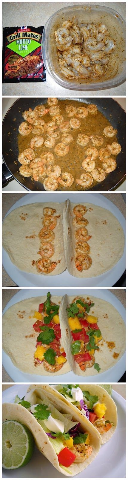 Super Simple Shrimp Tacos- we love these packs of marinade