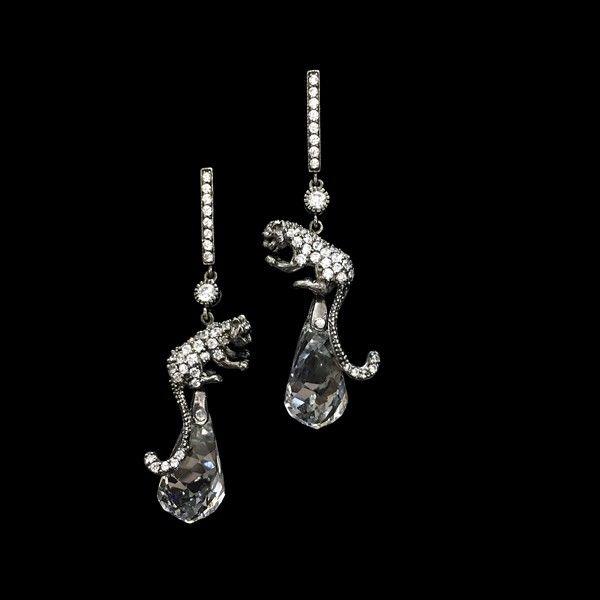Mosaic Collection: Wild glamour...🐾 Topaz and Cubic Zirconia Black Silver Earrings Salvaje glamour...🐾 Pendientes de Topacios y Circonitas en Plata Negra #BarneyBarnato #Mosaic #Earrings