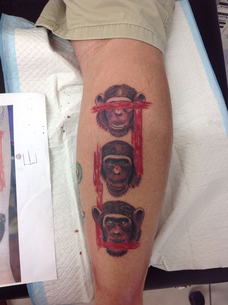 Three wise monkeys tattoo