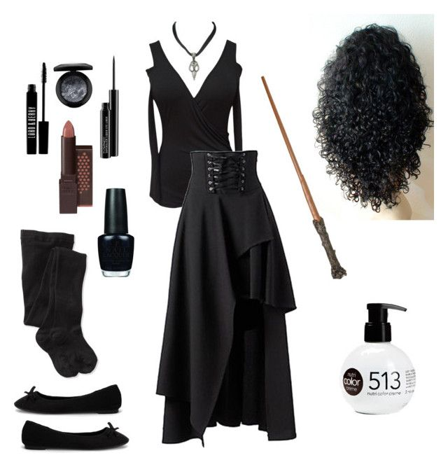 """Bellatrix Lestrange Costume"" by ellatiger04 on Polyvore featuring Nly Shoes, MAC Cosmetics, Lord & Berry, Burt's Bees, OPI, Smartwool and Revlon"