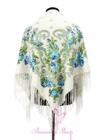 Павлопосадский платок белого цвета, PL.XL-PP-AW14-33, 125*125