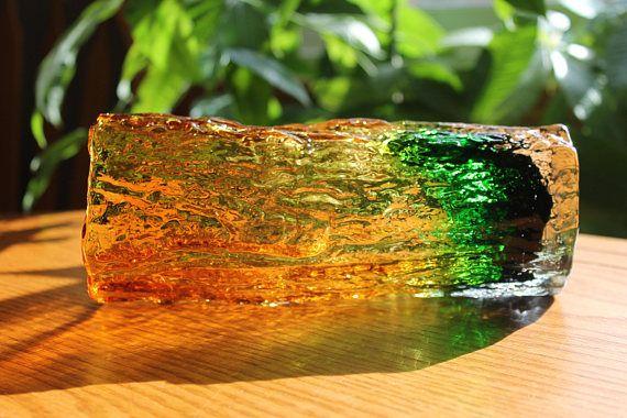Whitefriars Bark Vase  Rare Whitefriars Vintage Vase Amber