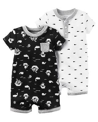 46ff6336e New Carter s 2 Pack Rompers Pirate Ship Whale Boy NB 3m 6m 9m NWT ...