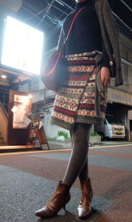 ÖKO's Coordinate Blog     Knit skirt × Short boots