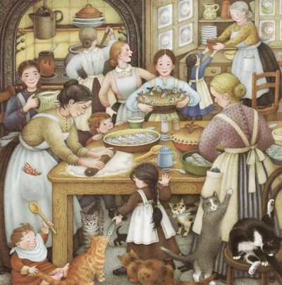 Nicola Bayley - a festive kitchen full of women, girls, floor babies, and cats
