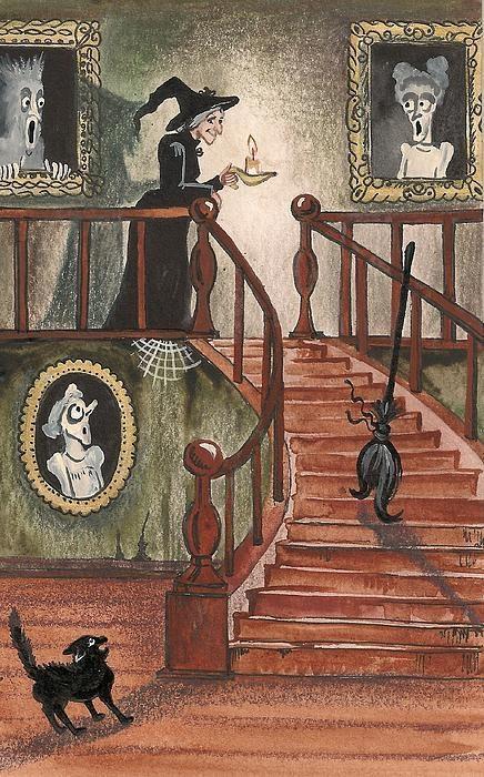 Halloween Witch Print By Margaryta Yermolayeva