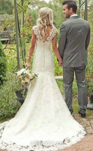 Classic Sheath/Column Straps Sweetheart Buttons Ivory Lace Wedding Dress