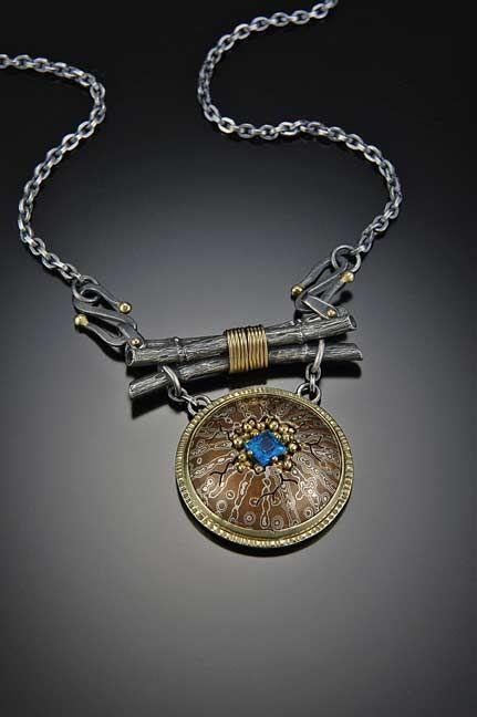 Necklace |  John Sartin.  Sterling/copper mokume gane, sterling silver, 14k and 18k golds and Brazilian Apatite