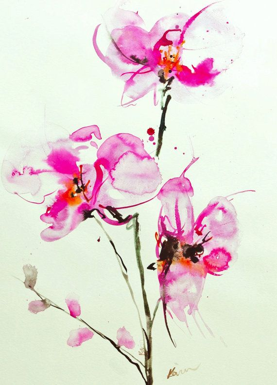 Orchid Watercolor by Karin Johannesson