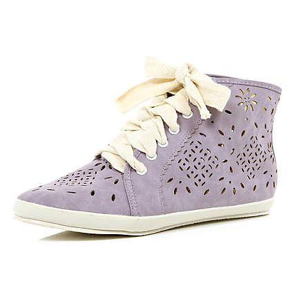 light purple laser cut high tops - high tops - shoes / boots - women - River Island