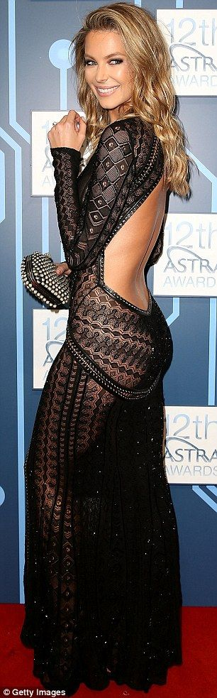 Sexy back: Jennifer Hawkins wore a very revealing Roberto Cavalli gown to ASTRA Awards in Sydney on Thursday night. Lace & black