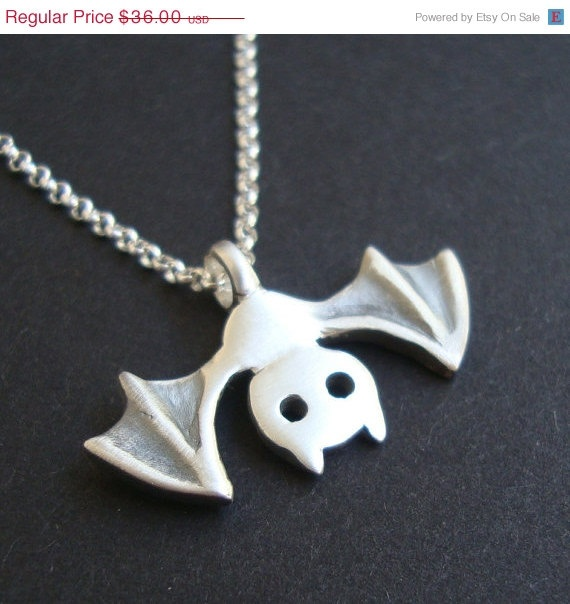 10 Sale Bat Necklace Halloween Necklace in sterling by zoozjewelry, $32.40