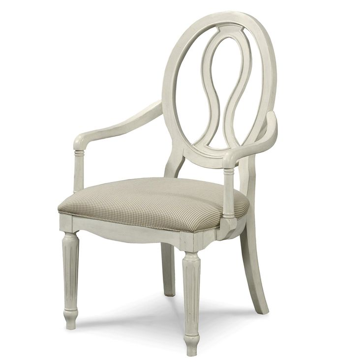Country Chic Maple Wood White Pierced Back Arm Chair ChicArm ChairsDining Room