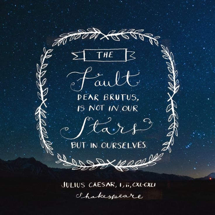 The fault dear Brutus, is not in our stars, but in ourselves. -Julius Caesar, Shakespeare