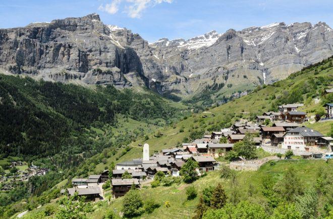 The alpine village of Albinen near Leukerbad, Switzerland