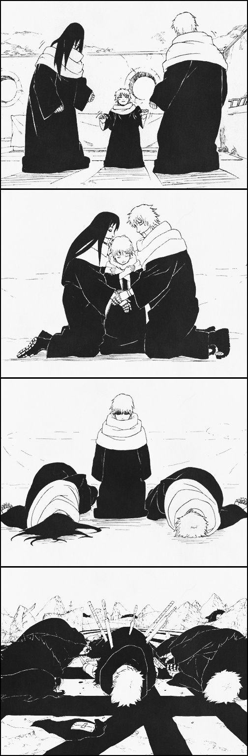 These scenes were really heartbreaking to look at when reading the manga. You knew that his mother and father died and Sasori being a talented puppeteer and was able to make dolls of them to move and for him to feel his mother and father holding him. But like all dolls once the strings are pulled they fall to the ground and that's exactly what happened in the end to Sasori.