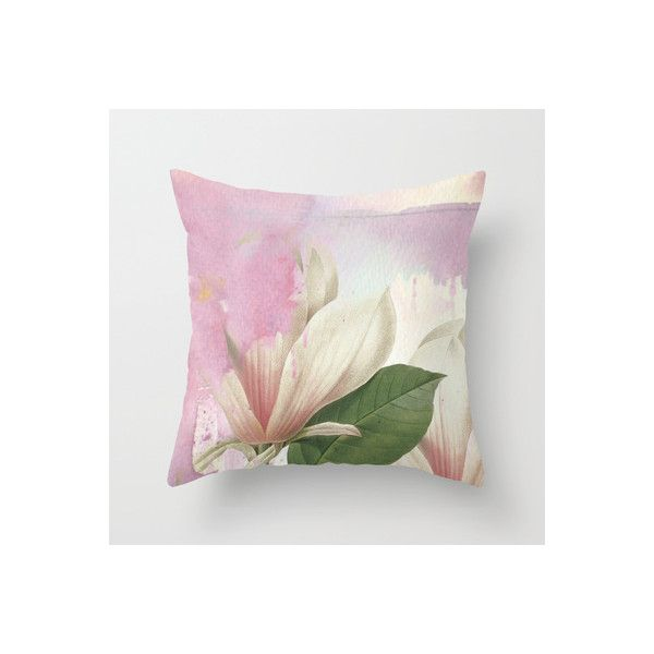 magnolia Throw Pillow (475 CZK) ❤ liked on Polyvore featuring home, home decor, throw pillows, watercolor throw pillows, floral home decor, pink accent pillows, pink home decor and floral throw pillows