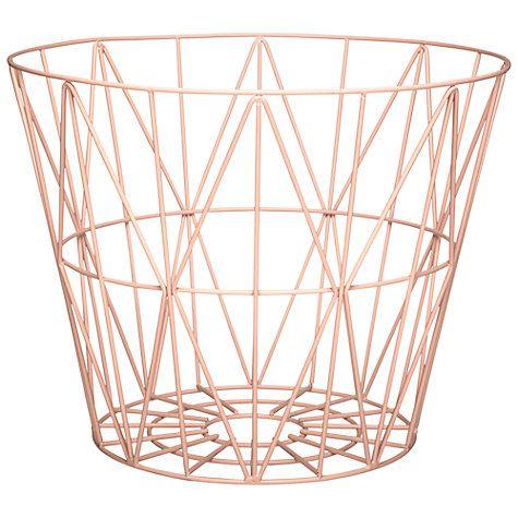 Buy ferm LIVING Wire Storage Basket, Medium, Rose Online at johnlewis.com