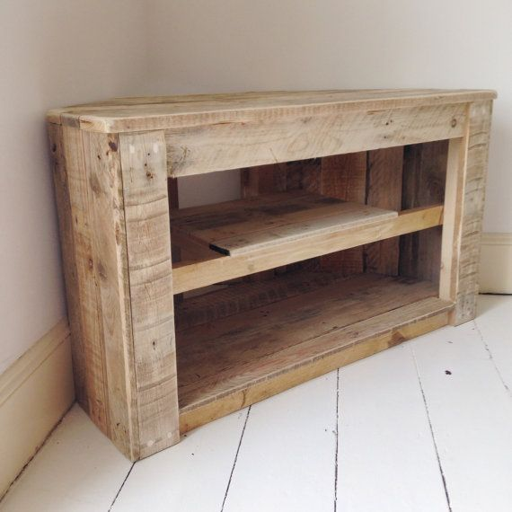 Handmade Rustic Corner Table/Tv Stand With Shelf. Reclaimed And Recycled  Wood