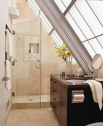 Soaring toward the sun, this modern bath is part of a glass-and-steel home with an ocean view: http://www.bhg.com/bathroom/small/small-bathroom-ideas-contemporary-style-baths/?socsrc=bhgpin030314naturallight