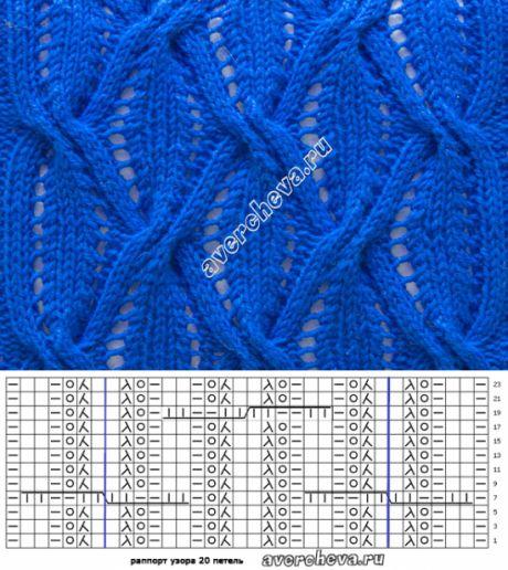 Ажурный узор с косами | каталог вязаных спицами узоров