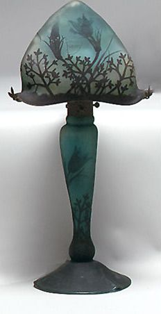 Art Nouveau Bourdoir Lamp with Daum Nancy Cameo Glass ~ The green and yellow mottled glass is overlaid ~ Cut with flowering pulsatilla and foliage in tines of chocolate brown ~ Signed Daum Nancy   JZ Rose - Virtural Village: Antiques and Collectibles