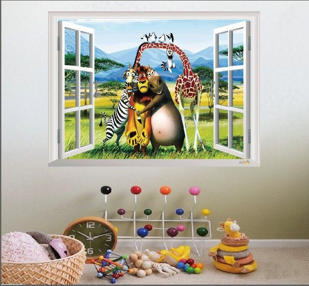 ==> [Free Shipping] Buy Best ZOOYOO 3D Window cartoon Wall Decals Sticker Kids Decor Online with LOWEST Price | 32235554488
