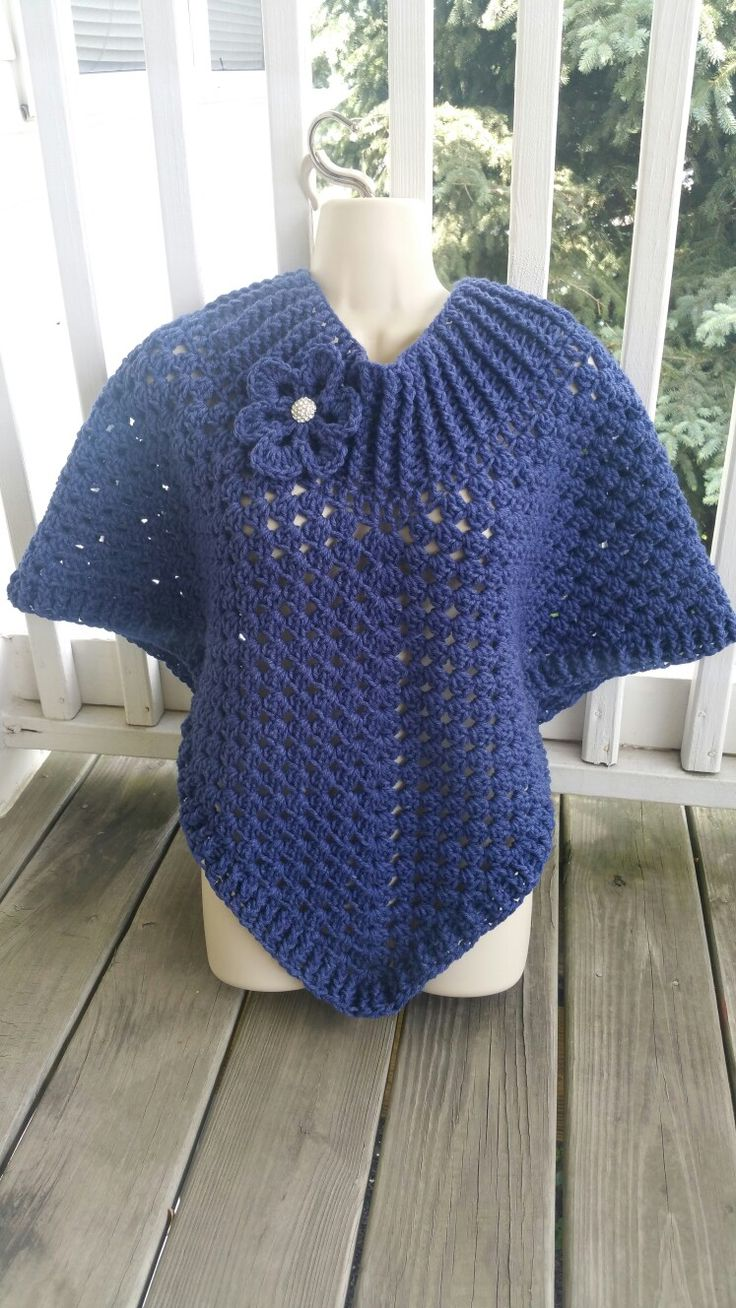 Hot Off My Hook! Project: Cowl Neck Poncho Started: 03 June  2016 Completed: 06 June 2016 Model: Madge the Mannequin Crochet Hook(s): J Cowl Portion, J, Granny Stitch portion Yarn: Redheart Super Value Color(s) Denim Pattern Source: Simply Crochet Magazine, Issue No. 25 (Hard Copy) Pattern Designed By: Simone Francis Notes: This is my 85th Cowl-Neck Poncho!
