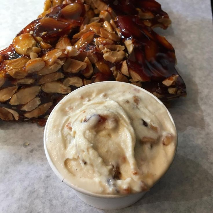 Marcona Almond Brittle gelato made by Jack from Jack's Gelato. He is Sweet Ally Scoops ice cream supplier and his flavours are the best