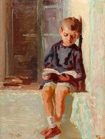 Boy reading. Alexandros Christofis (1882-1953) Greek painter.