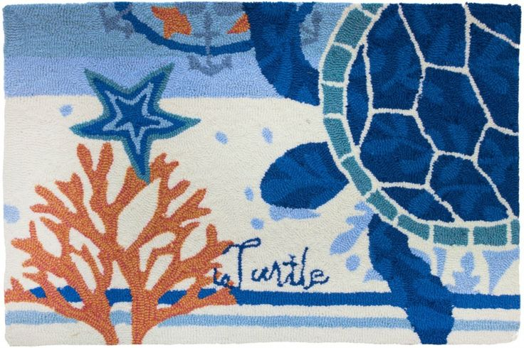 Perfect for poolside, decks, or indoor use! Sea Turtle Medallion Small Accent Rug