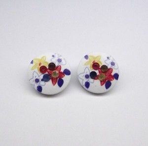 Multi Colour Acrylic Flower Clip On Earrings