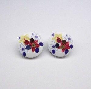 Multi Colour Acrylic Flower Clip On Earrings