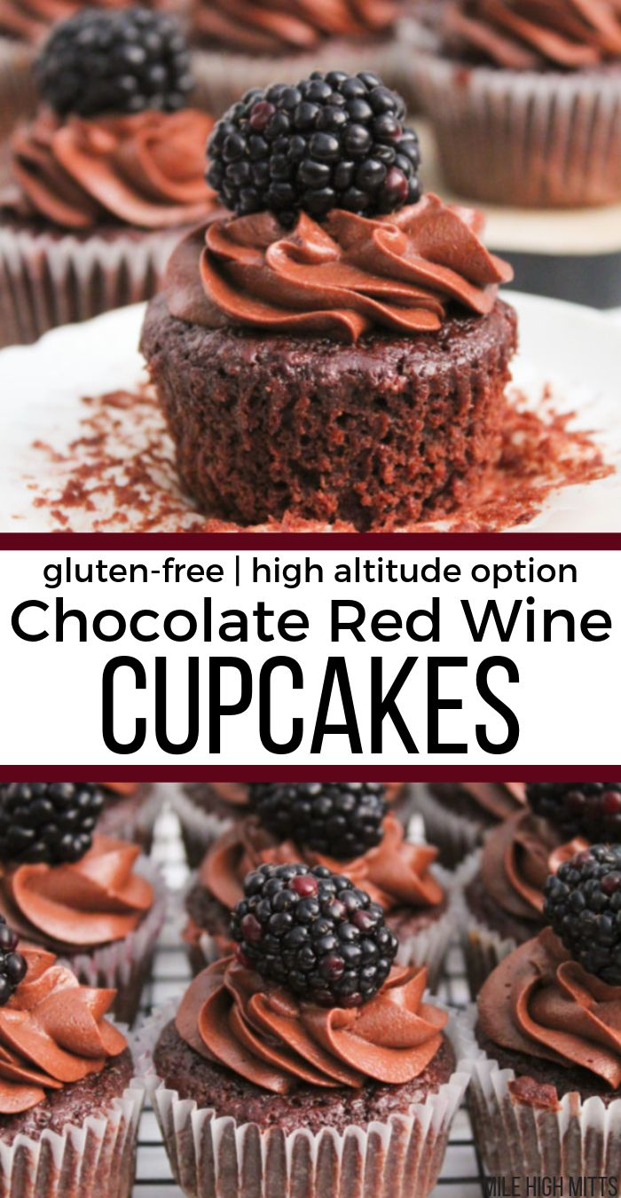 Chocolate Red Wine Cupcakes (gluten-free, high altitude option)