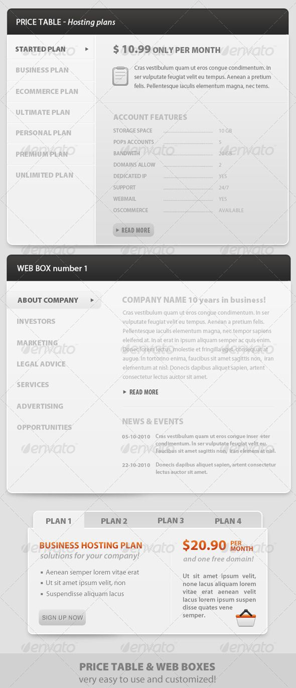 Web boxes - Price Table - clean style and modern