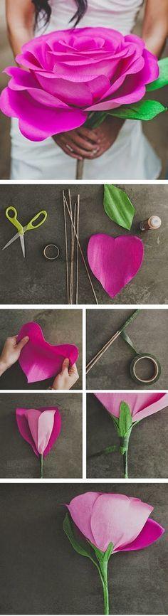 ARTE COM QUIANE - Paps,Moldes,E.V.A,Feltro,Costuras,Fofuchas 3D: DIY Paper Flower - Faça você mesmo! Flor de papel