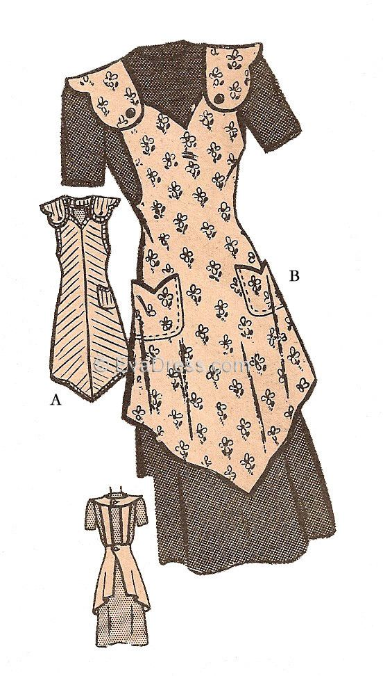 A40-4599; 1940's One-Yard Apron 4-piece digitally-drafted pattern originally by a mail order service, the bias apron may be cut from one yard of fabric, depending on size of apron and width of fabric.