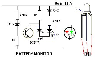 BATTERY MONITOR A very simple battery monitor can be made with a dual-colour LED and a few surrounding components. The LED produces orange when the red and green LEDs are illuminated.  The following circuit turns on the red LED below 10.5v The orange LED illuminates between 10.5v and 11.6v.  The green LED illuminates above 11.6v By Collin Mitchell - 30 LED Project.