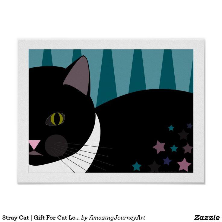 Stray Cat   Gift For Cat Lovers   Black Cat Art