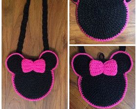 Bolsa em crochê da Minnie...    Ideia de bolsas da Minnie para as meninas que são fãs dela.               {fonte e imagem pinterest eet...
