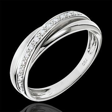 joaillerie Alliance 3 anneaux or blanc Trifolie - 13 diamants