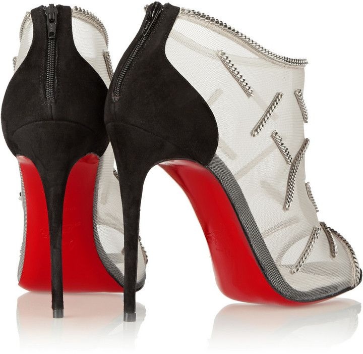 christian louboutin chain embellished ankle boots