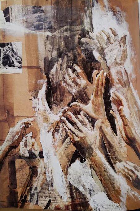 Mains tendues vers un pain 1994 tempera sur papier 103x72