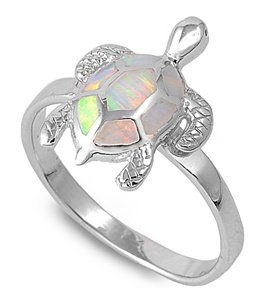 Amazon.com: Sterling Silver Turtle Opal Ring Size 6: Jewelry
