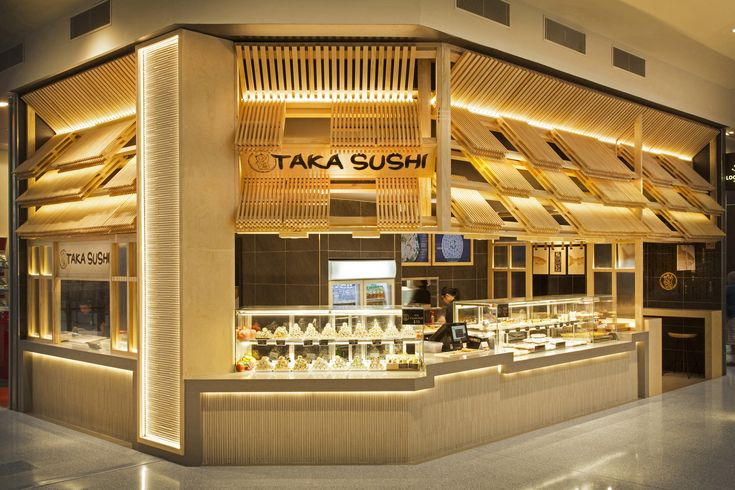Taka Sushi. Our new design for this great Sushi store #interior #design #retaildesign #retail #hospitality #pine #timber #Japanese #architecture #designer #tiles #modular #sushi #shop #taka #concealed #lighting #concrete #counter #signage #graphicdesign #graphics