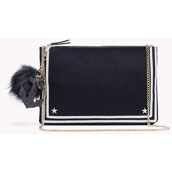 Nautical Pouch Gigi Hadid ($135) ❤ liked on Polyvore featuring bags, handbags, clutches, felt purse, navy purse, pouch handbag, navy blue handbags and nautical handbags