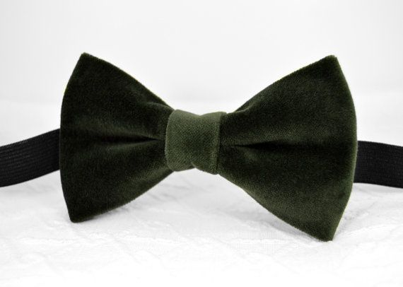 Bottle green velvet bow tie Bottle green bow tie от MrFoxBowTies